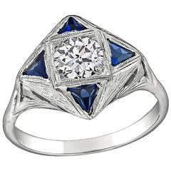 Enticing Art Deco GIA Diamond Sapphire gold Engagement Ring
