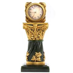 Paul Frey Antique Jade Gold Gothic Column Desk Clock