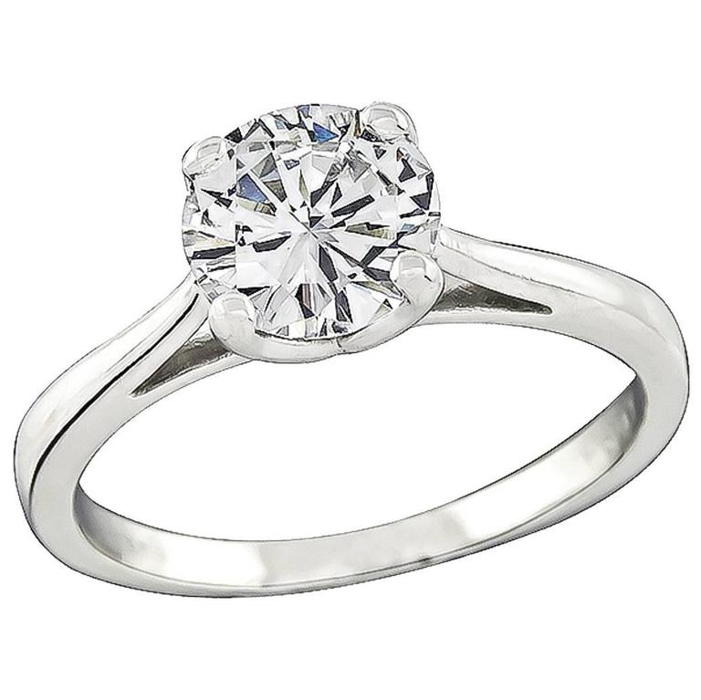 Classic 1.06 Carat Diamond platinum Solitaire Engagement Ring