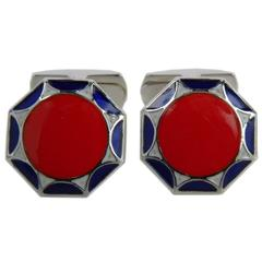 Unique Red Blue White Hand Enamelled Sterling Silver Cufflinks T-bar back