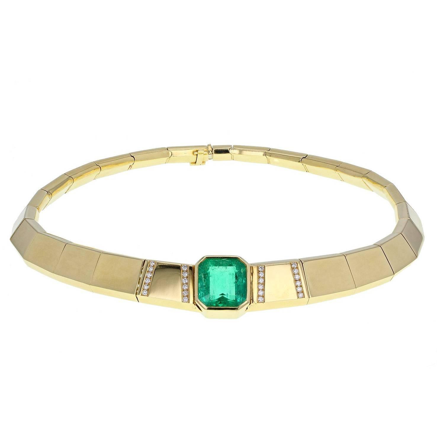 Colombian Emerald Diamond Gold Choker Necklace
