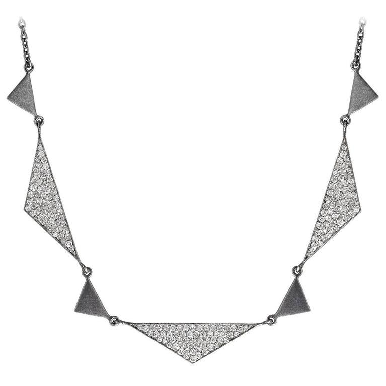 Lauren Harper 1.92 Carat White Diamond Matte Oxidized Silver Trinity Necklace For Sale
