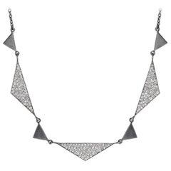 Lauren Harper 1.92 Carat White Diamond Matte Oxidized Silver Trinity Necklace