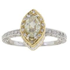 1.15 Carat Diamond 18 Karat White Yellow Rose Gold Ring