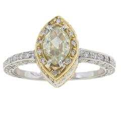 1.15 Carat Diamond 18 Karat White Yellow Rose Gold Ring