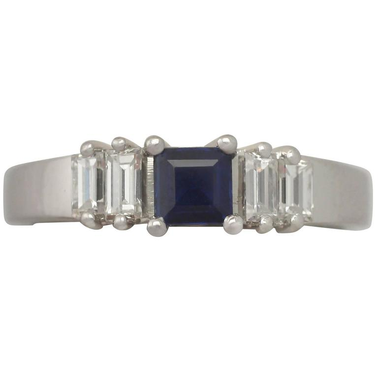 1990s Sapphire and Diamond White Gold Cocktail Ring
