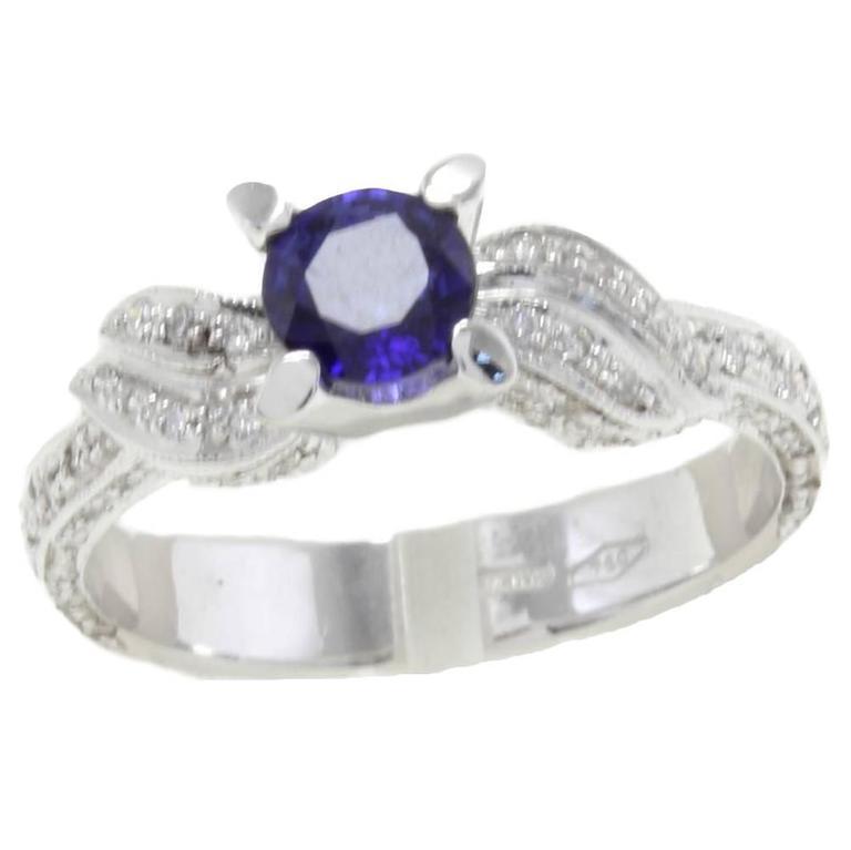 Sapphire Diamonds 18 Karat White Gold Ring