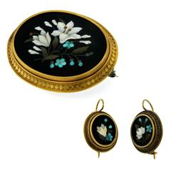 1880s Antique Mosaic Gold Brooch Earrings Set