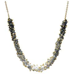 Rebecca Overmann Intricate 15 ct white gray black diamond gold Ombre Necklace