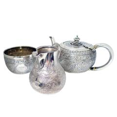 Sterling Silver Victorian Tea Service with Armorial Crest of British Nobility