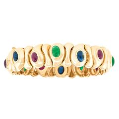 Eighties Sapphire, Emerald, and Ruby Gold Bracelet