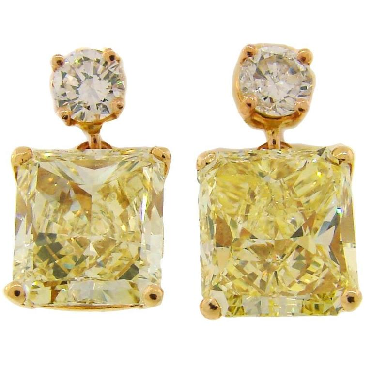 Fancy Yellow GIA and White Diamond Gold Two-Stone Stud Drop Earrings