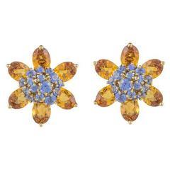 Van Cleef & Arpels Citrine Sapphire gold Hawaii Earrings
