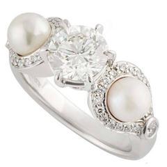 Rosendorff Diamond & Pearl Ring in White Gold 1.20 Carat