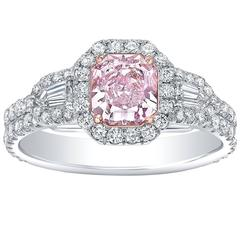 Tamir GIA Certified 0.88 Carat Light Pink Diamond Two Color Gold Ring