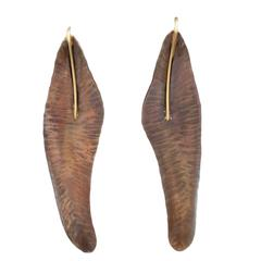 Alexandra Hart Copper Gold Feather Earrings