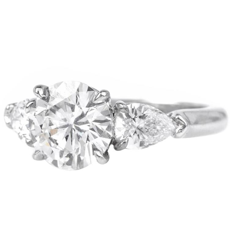 3.41 carats GIA Certified Round Brilliant  Diamonds Platinum Engagement Ring