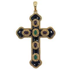 Antique Onyx Ruby Emerald Gold Cross Pendant