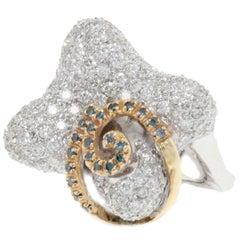 Diamonds  White and Yellow Gold Fashion Ring