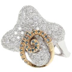 Diamonds  White and Yellow Gold Fashion Ring