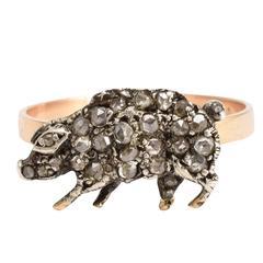 Victorian Diamond Lucky Pig Conversion Ring