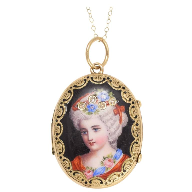 Antique Victorian Swiss Enamelled Portrait Locket
