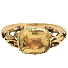 Antique Georgian Citrine gold Solitaire Ring