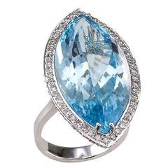 Blue Topaz Diamond Gold Ring