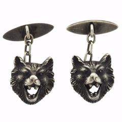 Silver Wild Animal Head Cufflinks
