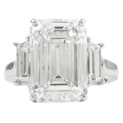 Van Cleef & Arpels GIA 7.80 Carat E VS2 GIA Emerald Cut Diamond platinum Ring