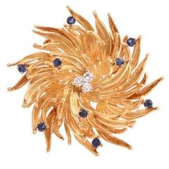 Tiffany & Co. Sapphire Diamond Gold Floral Motif Pin Brooch