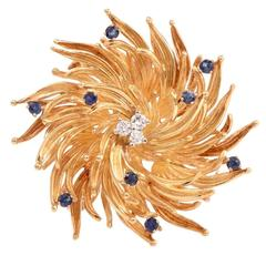 Tiffany & Co. Sapphire Diamond Gold Floral Motif Pin Brooch