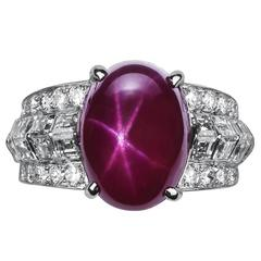 Cartier 10.86 Carat Burma No Heat Star Ruby Diamond Platinum Ring