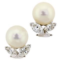 Vintage Pearl Diamond White Gold Earclips