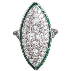 Antique Edwardian Emerald Diamond Navette Shaped Ring