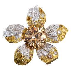 Multi-Color Diamond gold Flower Brooch France 4.35 Carat