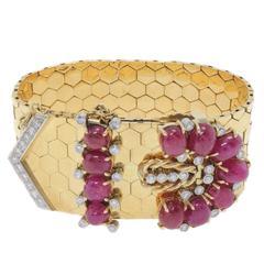 GCS Certificate Ruby Diamond Gold Retro Bracelet