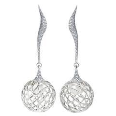 Lara Bohinc Pearl Diamond Palladium Sculptural Orb Drop Earrings