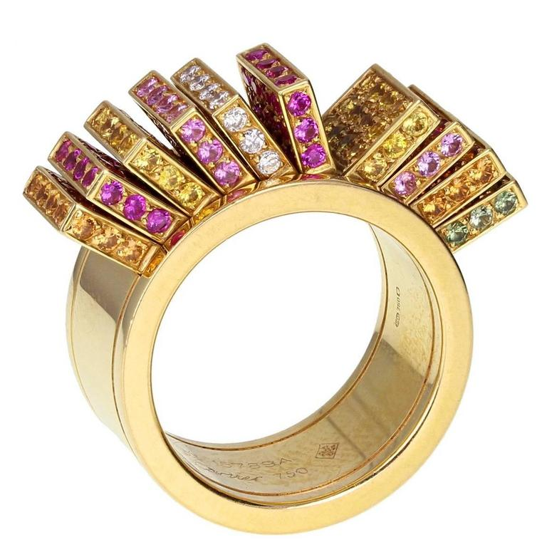 Cartier Paris Sapphire Diamond Gold Articulated Kinetic Fan Band Ring