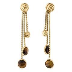 David Yurman Tiger's Eye 18 Karat Yellow Gold Dangle Earrings