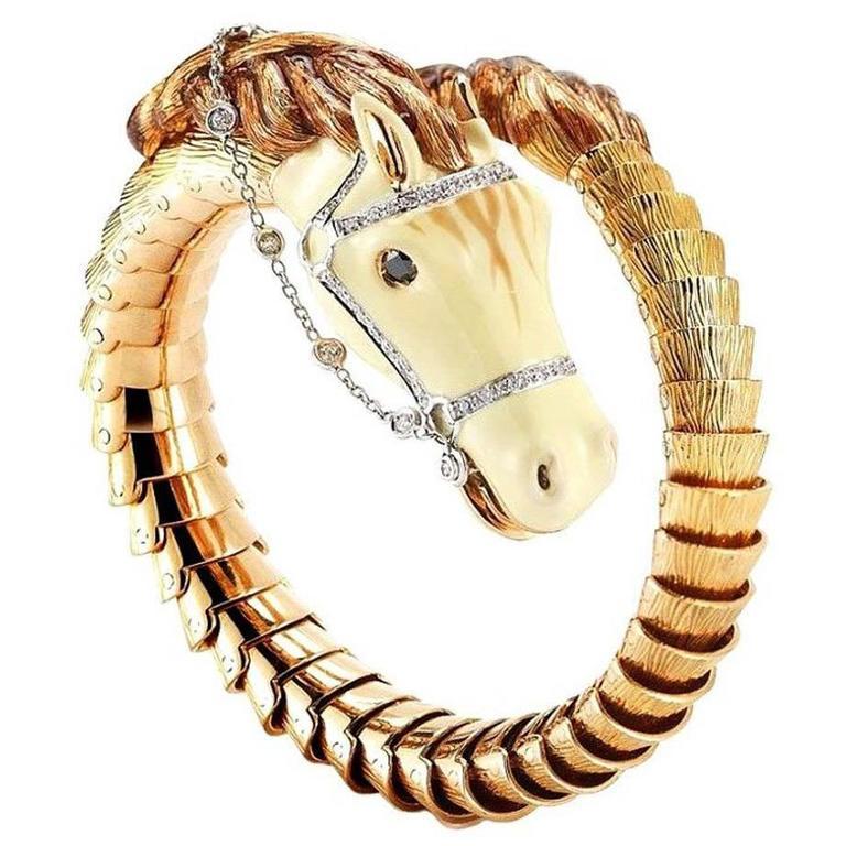 Roberto Coin Diamond 18 Karat Rose Gold Flexible Horse Cuff