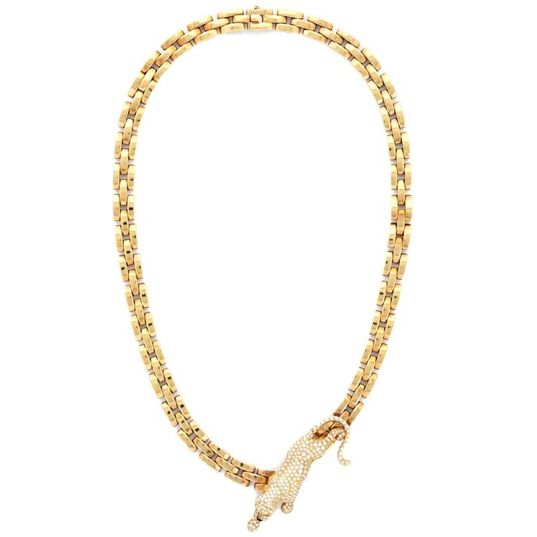 Lady Cartier Panthere Pave Diamond Gold Necklace