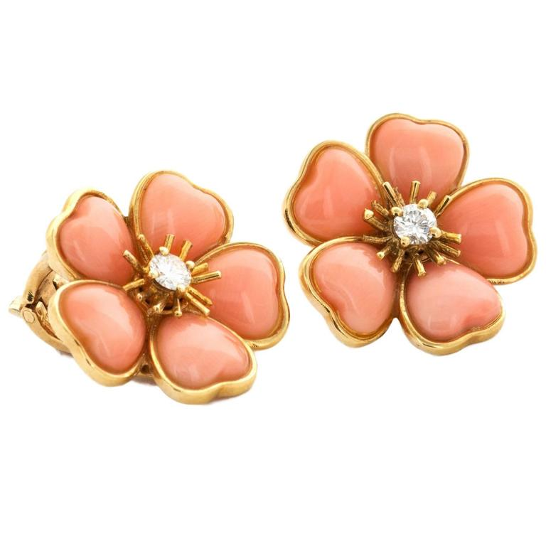 Van Cleef & Arpels Coral Diamond Gold Flower Earrings