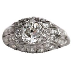 1910 Edwardian GIA Certified 1.17 Carat Diamond Platinum Engagement Ring