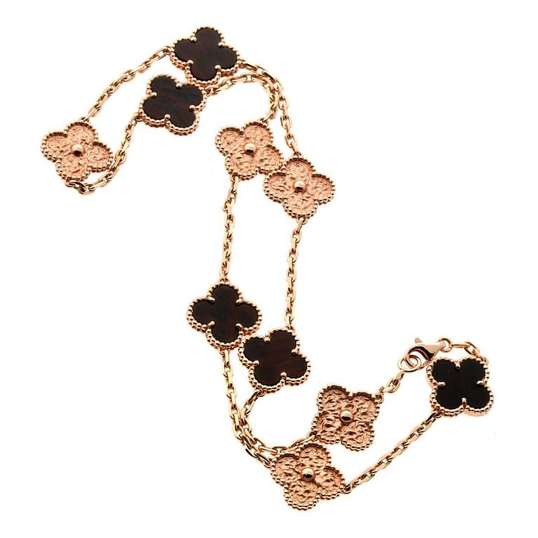 Limited Edition Van Cleef & Arpels Alhambra Letterwood Gold Necklace 1