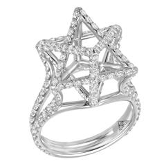 Merkaba Star Diamond Platinum Architectural Ring