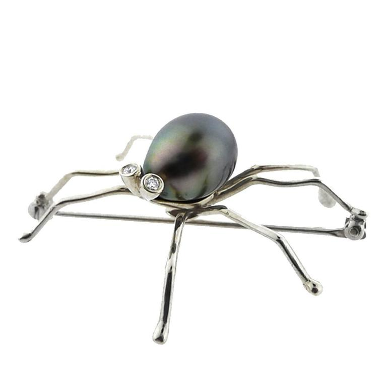 Black South Sea Pearl Diamond Spider Brooch For Sale