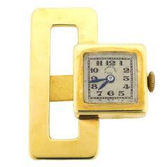 1920s Tissot Yellow Gold Mechanical Movement Lapel Watch