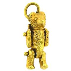 1910s Antique Handmade Gold Teddy Bear Charm with Movable Parts