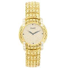 Lady's Piaget Yellow Gold Diamond & Sapphire Bracelet Watch